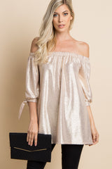 Gold Metallic Off Shoulder Sleeve Tie Maternity Top