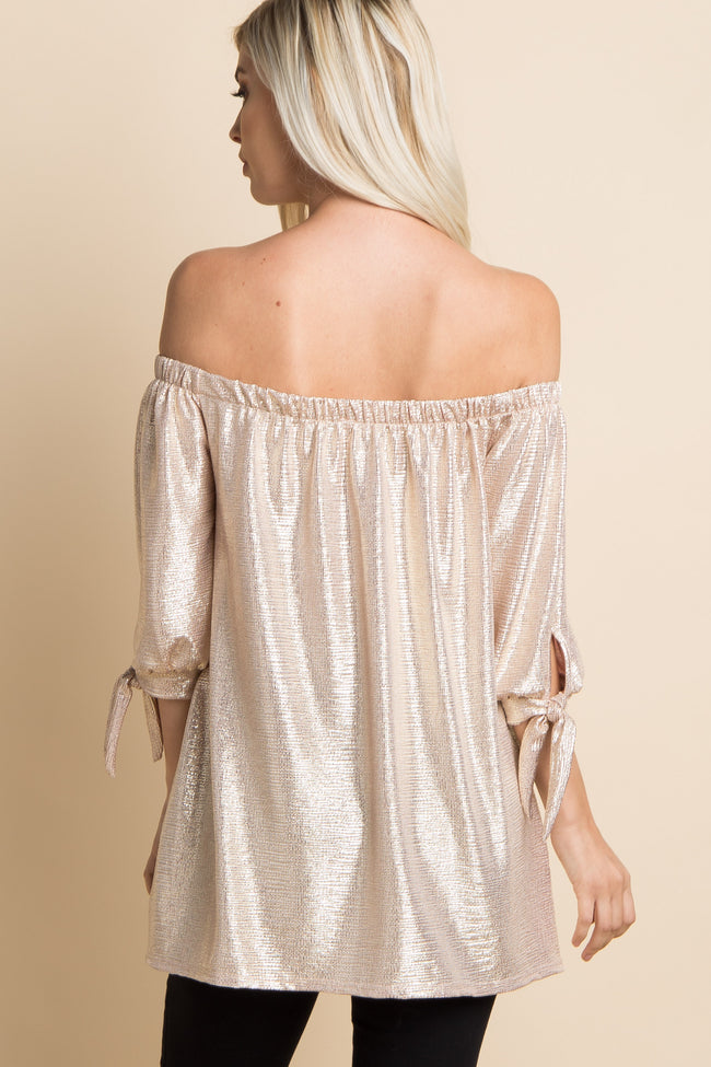 Gold Metallic Off Shoulder Sleeve Tie Top