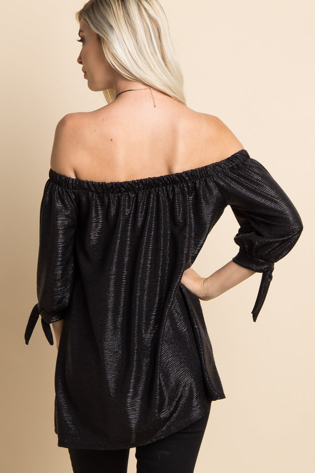 Black Metallic Off Shoulder Sleeve Tie Top