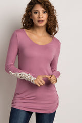 Mauve Fitted Crochet Sleeve Top