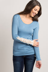 Blue Fitted Crochet Sleeve Maternity Top