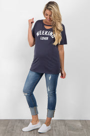 "Navy Blue ""Weekend Lover"" Graphic Cutout Maternity Top"