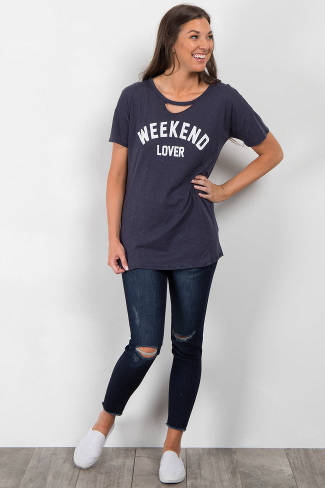 "Navy Blue ""Weekend Lover"" Graphic Cutout Top"
