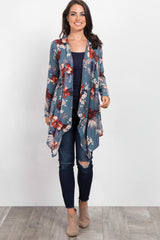 Blue Tropical Floral Draped Maternity Cardigan