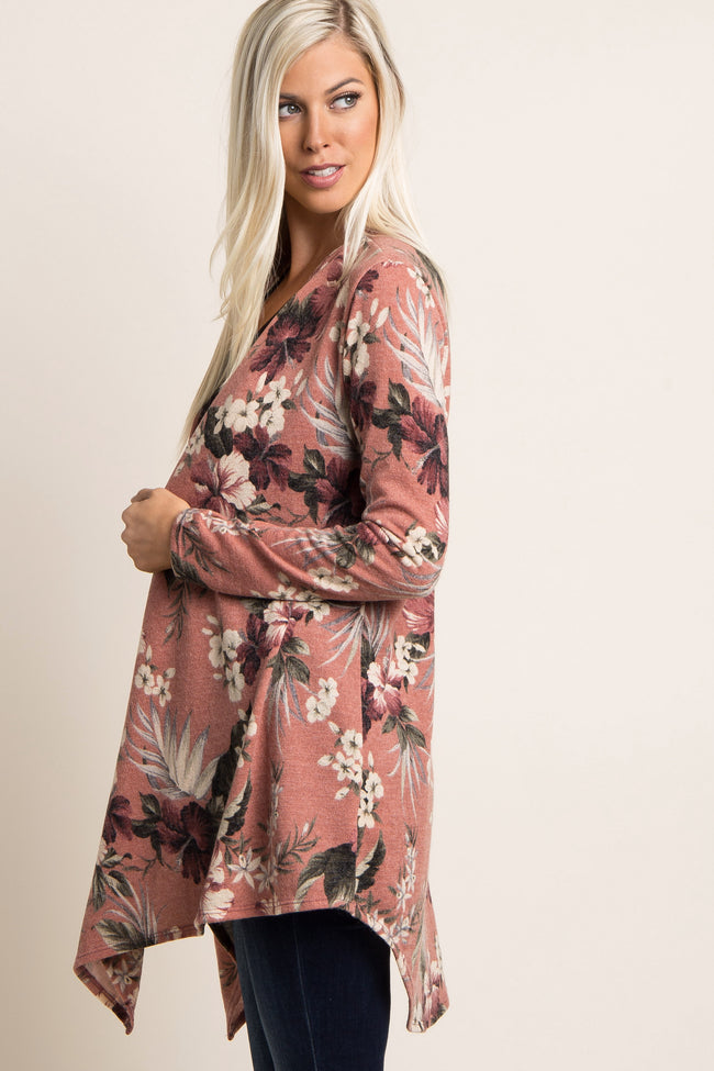 Pink Tropical Floral Draped Cardigan