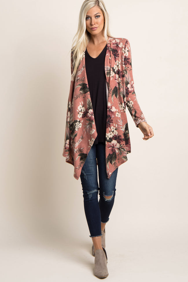 Pink Tropical Floral Draped Maternity Cardigan