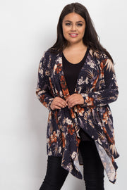 Navy Blue Tropical Floral Draped Plus Cardigan