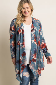 Blue Tropical Floral Draped Plus Maternity Cardigan