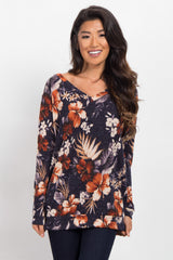 Navy Blue Hibiscus Floral V-Neck Sweater