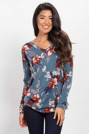 Blue Hibiscus Floral V-Neck Sweater