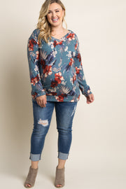 Blue Hibiscus Floral V-Neck Plus Maternity Sweater