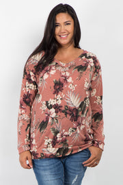 Pink Hibiscus Floral V-Neck Plus Maternity Sweater