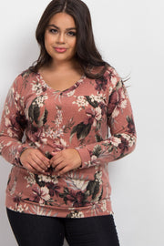 Pink Hibiscus Floral V-Neck Plus Sweater