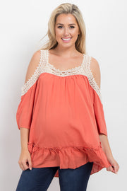 Orange Solid Crochet Cold Shoulder Maternity Top