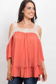 Orange Solid Crochet Cold Shoulder Top
