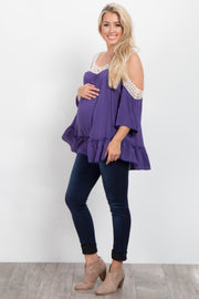 Purple Solid Crochet Cold Shoulder Maternity Top