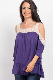 Purple Solid Crochet Cold Shoulder Top