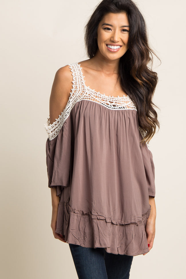 Taupe Solid Crochet Cold Shoulder Top