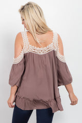 Taupe Solid Crochet Cold Shoulder Maternity Top