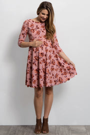 Pink Rose Floral Scalloped Hem Maternity Dress