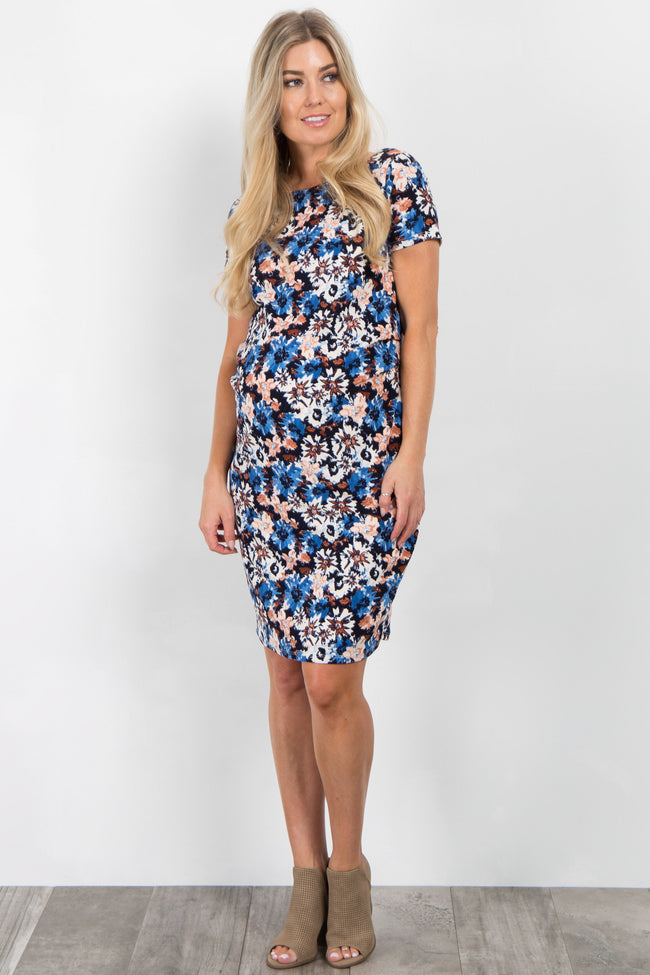 Black Abstract Floral Fitted Maternity Dress