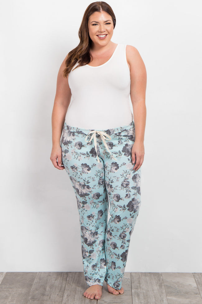 Mint Green Floral Print Plus Maternity Pajama Pants