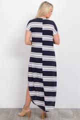 Navy Blue Alternating Striped Maternity Maxi Dress