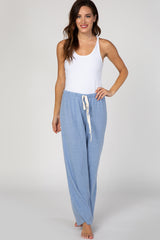 Blue Solid Soft Knit Maternity Pajama Pants