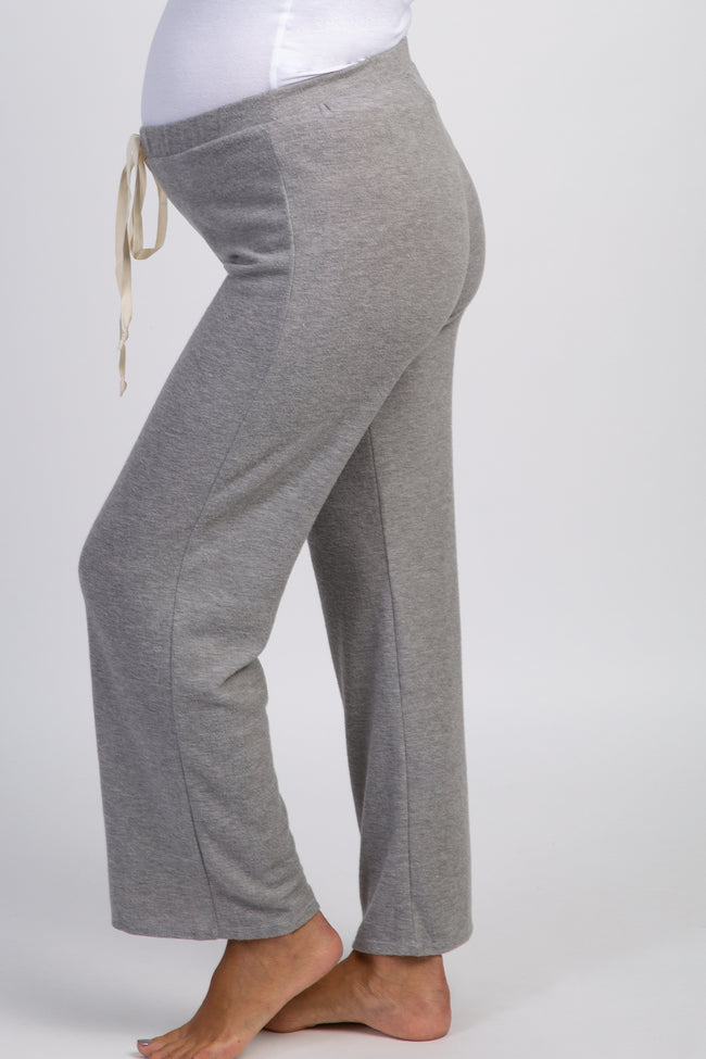 Heather Grey Solid Soft Knit Maternity Pajama Pants