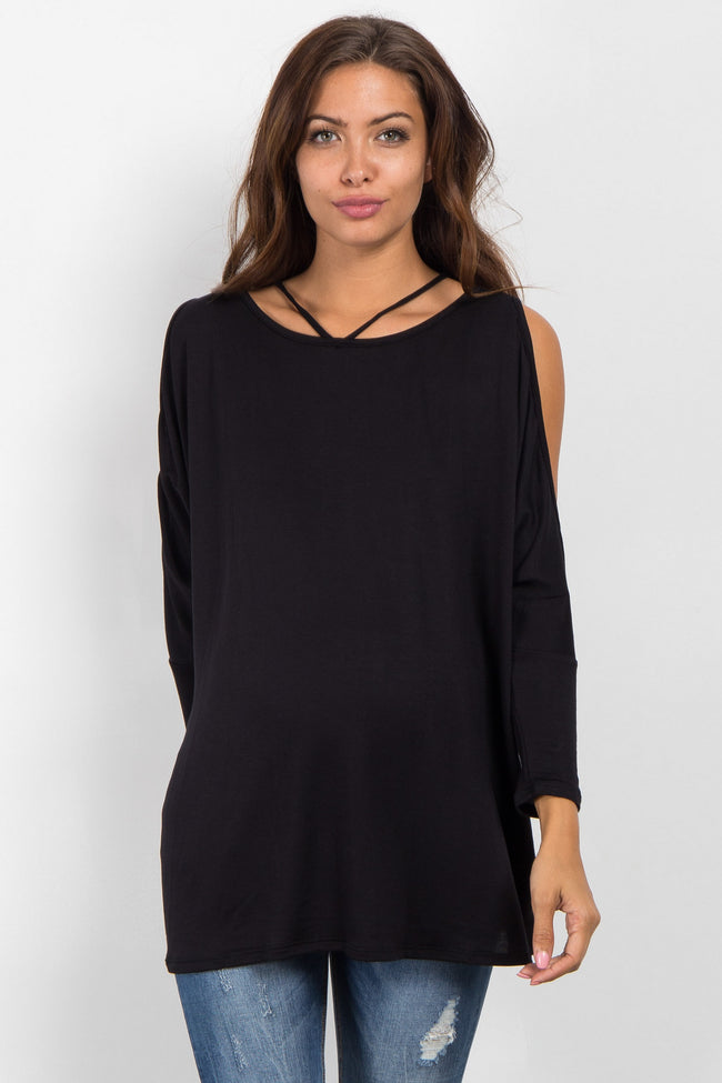 Black Cold Shoulder Dolman Maternity Top