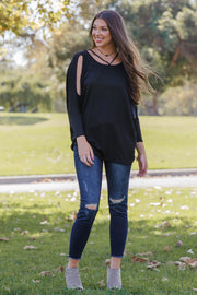 Black Cold Shoulder Dolman Top