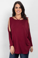 Burgundy Cold Shoulder Dolman Top