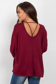 Burgundy Cold Shoulder Dolman Maternity Top