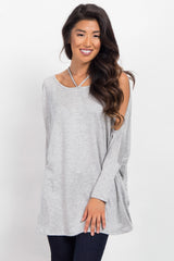 Heather Grey Cold Shoulder Dolman Top