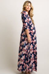 Navy Pink Floral Maternity/Nursing Maxi Wrap Dress