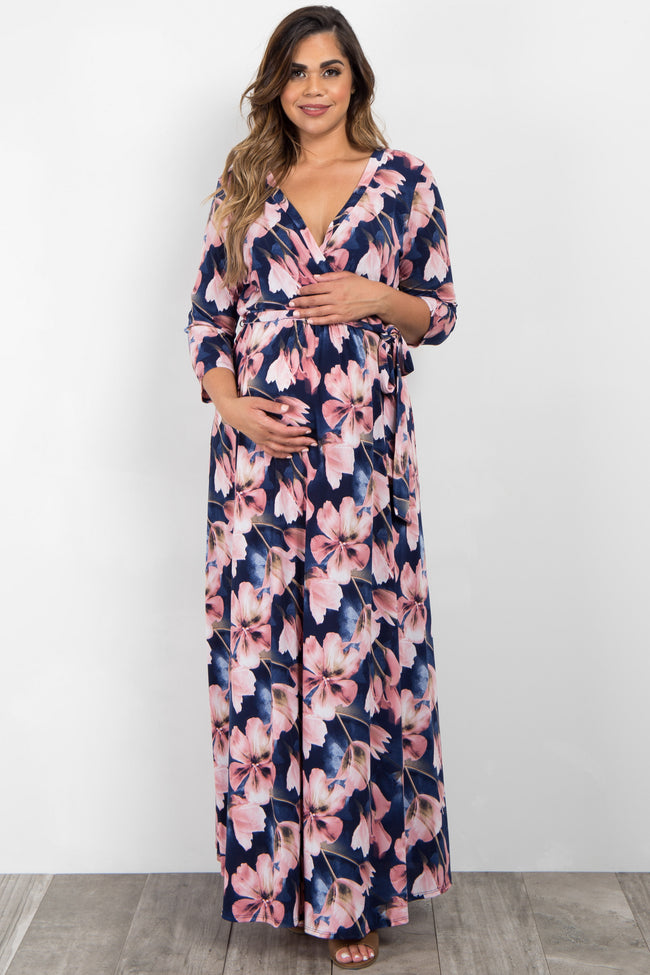 Pink Floral Plus Maternity/Nursing Maxi Wrap Dress
