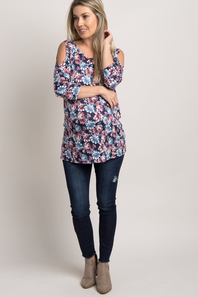 Navy Blue Floral Cold Shoulder 3/4 Sleeve Maternity Top