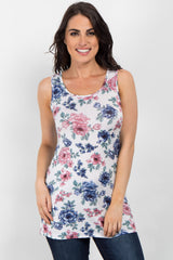 Ivory Floral Print Maternity Tank Top