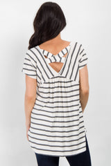 Charcoal Striped Cross Back Top