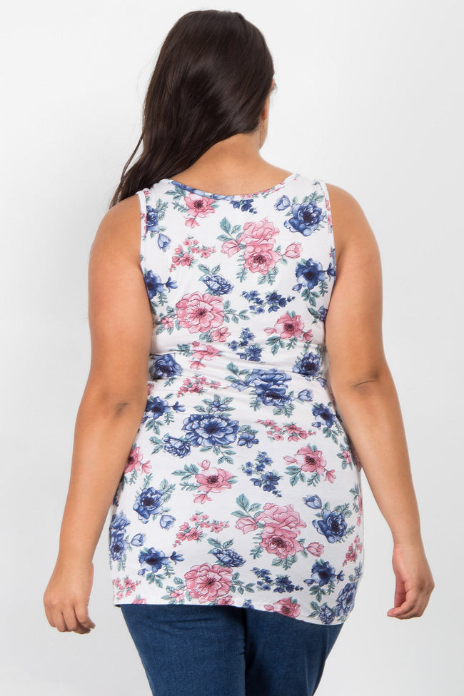 Ivory Floral Print Plus Maternity Tank Top