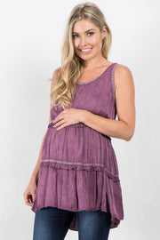 Mauve Sleeveless Tiered Maternity Top