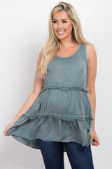 Jade Sleeveless Tiered Maternity Top