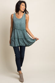 Jade Sleeveless Tiered Top