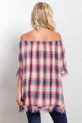 Coral Plaid Off Shoulder Frayed Hem Top