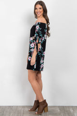 Black Floral Off Shoulder Sleeve Tie Dress