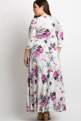 Ivory Abstract Floral Sash Tie Plus Maxi Dress