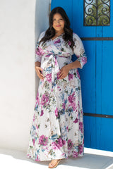 Ivory Abstract Floral Sash Tie Plus Maternity/Nursing Maxi Dress