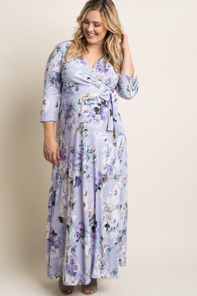 Lavender Floral Sash Tie Plus Maternity/Nursing Maxi Dress