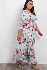 Mint Abstract Floral Sash Tie Plus Maxi Dress