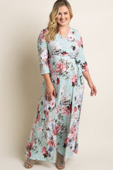 Mint Abstract Floral Sash Tie Plus Maternity/Nursing Maxi Dress